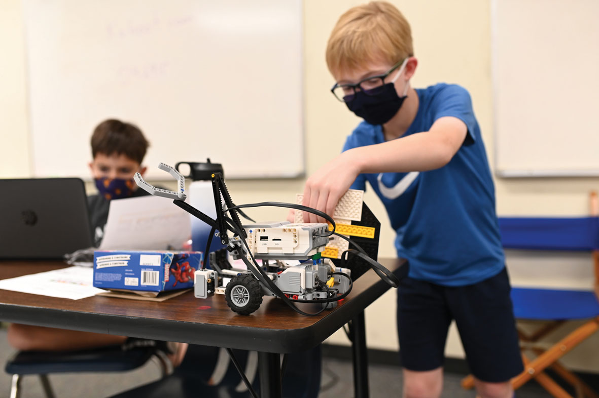 A student at Columbia Independent School engages in a STEAM activity.