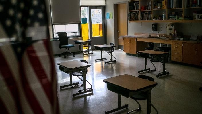 A kindergarten room sits empty as students from that class quarantine at home. Every kindergarten teacher at a school in San Antonio has tested positive for COVID-19, and the students' parents are upset because the school didn't notify families. (Photo by John Moore/Getty Images)